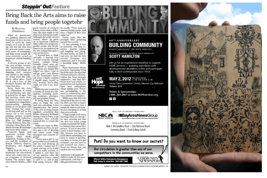 Image of San Jose Mercury News article about Bring Back the Arts