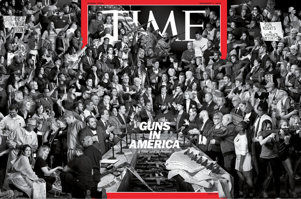 "JR's TIME ""Guns in America"" cover issue (2018). © TIME."